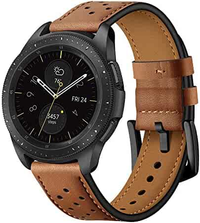Quick Release Brown Leather Watch Bands 20mm Fit Samsung Galaxy Watch 42mm/Samsung Gear Sport/Samsung Gear S2 Mens Womens