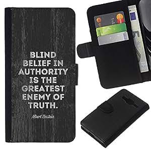KLONGSHOP // Tirón de la caja Cartera de cuero con ranuras para tarjetas - autoridad enemigo movimiento verdad política - Samsung Galaxy Core Prime //