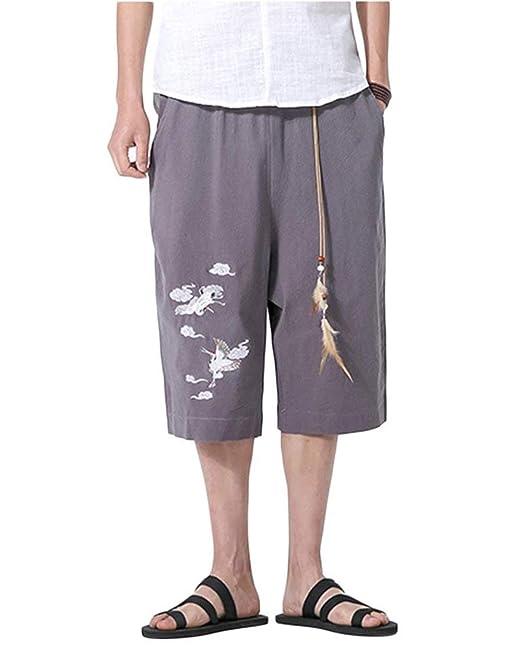 Battercake Pantaloni Stile Harem da Uomo Stile Cinese in con