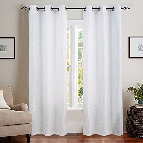 White Curtains 84 inch Living Room Curtains Waffle Weave Light Reducing Privacy Window Curtain for Bedroom Window Treatment Set, Grommet Top, 2 Panels ()