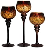 Home Essentials Mercury Chocolate Hurricanes Candle Holders, Set of 3 (2 Units)