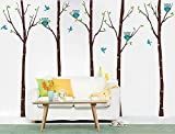 Pop Decors ''Birch Trees with Owls'' Wall Stickers For Baby Boy Rooms