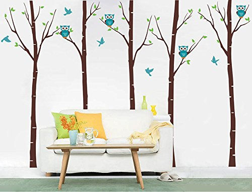 Pop Decors ''Birch Trees with Owls'' Wall Stickers For Baby Boy Rooms by Pop Decors