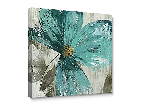 Niwo Art TM - Teal Flower B, Floral painting Artwork - Giclee Wall Art for Home Decor,Office or Lobby, Gallery Wrapped, Stretched, Framed Ready to Hang (24