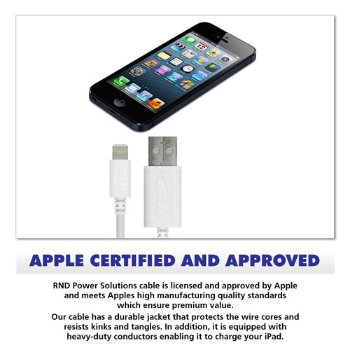 RND Apple Certified Lightning USB 6ft Cable for iPhone (10/X/8/8 Plus/7/7 Plus/6/6 Plus/6S/6S Plus/5/5S/5C/SE) iPad (Pro/Air/Mini) and iPod Data Sync and Charge Cable (6 feet/1.8M/White)