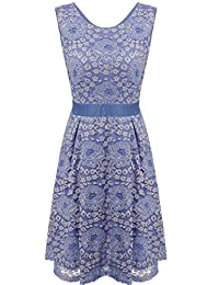 Meaneor Women Vintage Floral Lace Sleeveless Short Cocktail Evening Party Dress