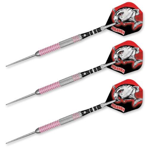 Dart World Piranha Range Grooved Steel Tip Darts Set, 25gm, Pink