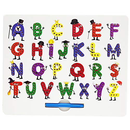 Magnetic Letter Board,ABC Free Play Doodle Board Magnetic Alphabet Letters Tracing Board,A to Z STEM Toys,Writing Learning Drawing Tablet with Stylus for Preschool,Toddler,Kids