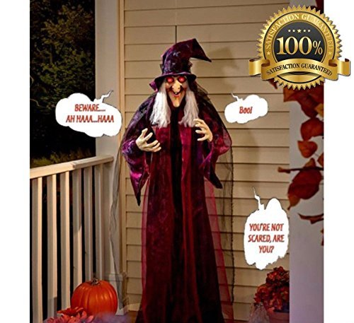 HALLOWEEN HANGING WITCH PROP TALKING ANIMATED 6FT SCARY DECORATION SPOOKY DECOR ()