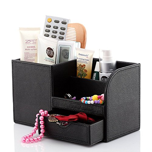 ADVcer Desk Organizer Box with Drawer, Wood Structure PU Leather Table Storage Caddy for Office Home School Dorm Reception, Stationery, Business Card, Mobile Phone, Gadget, Makeup Accessories (Black)