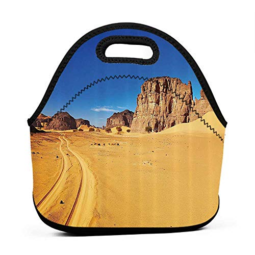 - Tote Waterproof Outdoor Apartment Decor,Desert Landscape with Rocks and Sky Tadrart Algeria Africa Sahara Dry Weather Image,Blue and Apricot,texans lunch bag for men