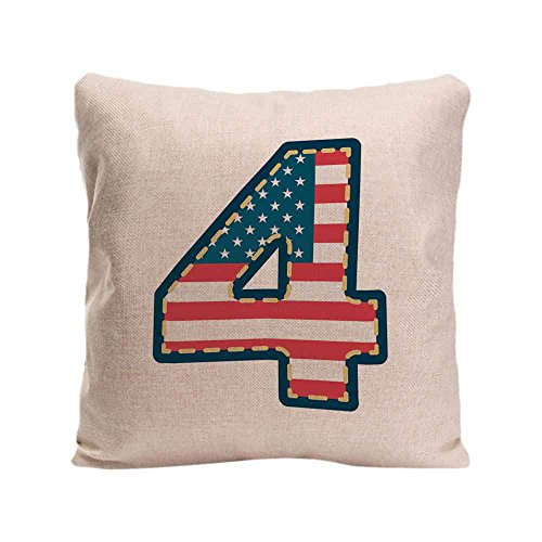 Genify Manogram 4 Cushion Covers America Flag Decoration Number Linen Pillow Cover for Car 18X18 Inches (Sham Bedding Meaning)