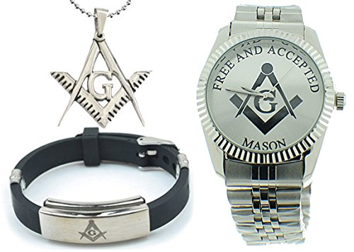 3 Piece Jewelry Set - Freemason Pendant, Bracelet & Masonic Watch on sale. Free and Accepted Masons. Silver Color Steel Band Full Silver Color Face Dial Freemason Symbol Watch