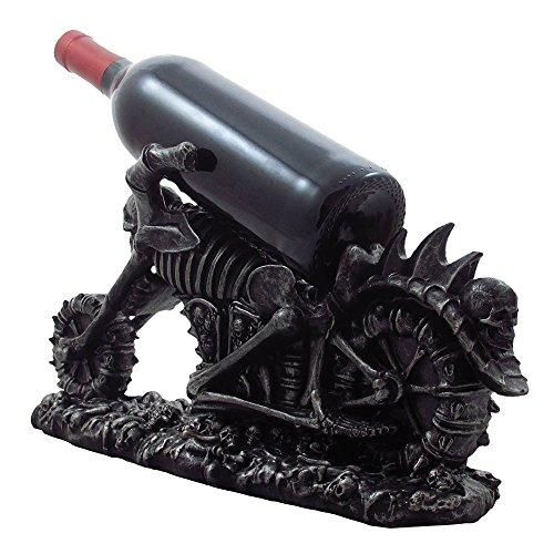 Graveyard Biker Skulls and Skeleton Motorcycle Wine Bottle Holder Sculpture for Medieval or Gothic Bar, Kitchen & Halloween Decor Statues and Fantasy Gifts
