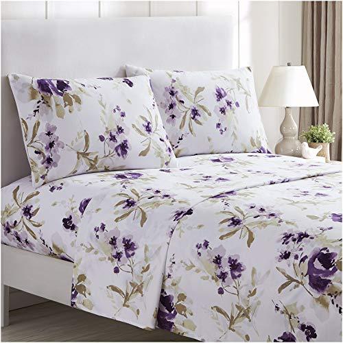 Mellanni Bed Sheet Set - Brushed Microfiber 1800 Bedding - Wrinkle, Fade, Stain Resistant - 4 Piece (King, Madison Purple)