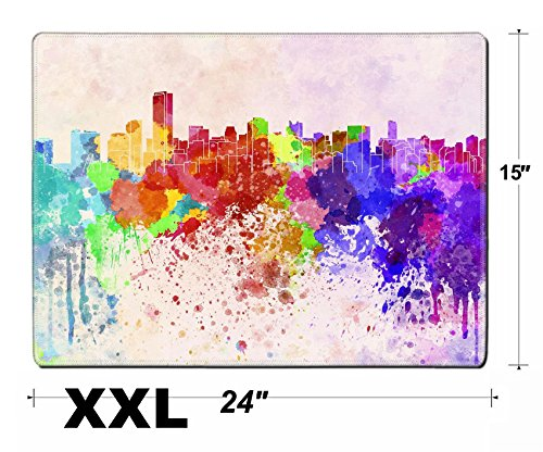 Liili Extra Large Mouse Pad Xxl Extended Non Slip Rubber Gaming Mousepad 24X15 Inch  3Mm Thick Stitched Edge Desk Mat Image Id  27383127 Miami Skyline In Watercolor Background