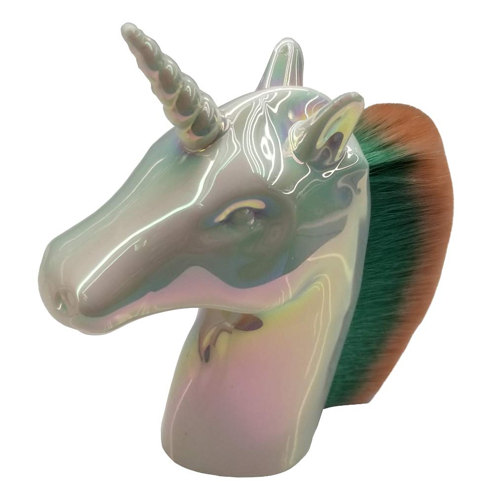 Super Awesome Holographic Unicorn Concealer Blending Foundation Premium Cosmetic Makeup Brush (Perl White)