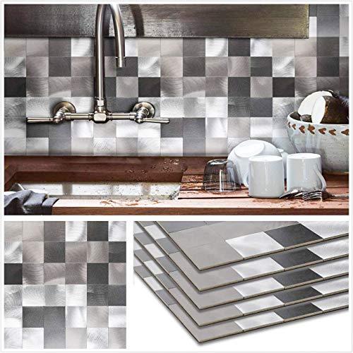 HomeyStyle Peel and Stick Tile Backsplash for Kitchen Wall Decor Metal Mosaic Tiles Sticker,Black&Grey Plaid 12