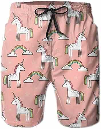 0b8edf00fa Cute Unicorn Rainbow On Peach Quick Dry Board Shorts Beach Shorts Swimwear  Swim Trunks Surfing Suit