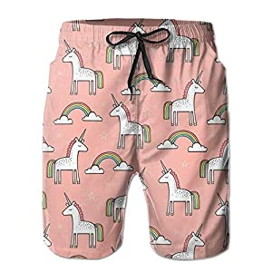 Cute Unicorn Rainbow On Peach Quick Dry Board Shorts Beach Shorts Swimwear Swim Trunks Surfing Suit