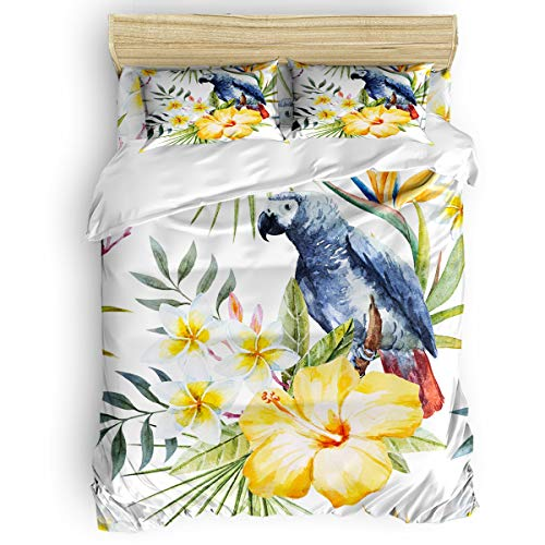 Sunteeny Home Bedding Set 4 Piece Duvet Cover Set King Size Hand Drawn Parrot Bird Pattern Soft Comforter Cover Set Quilt Cover Set for Children/Adults All Seasons