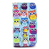 Flip Leather Card Holder Case Stand for Motorola Moto X XT1053 - Multiple Adorable Owls Wallet Handbag Clutch Purse Case Cover Snap-On