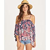 Billabong Women's Forever Printed Woven Top, Indigo, M