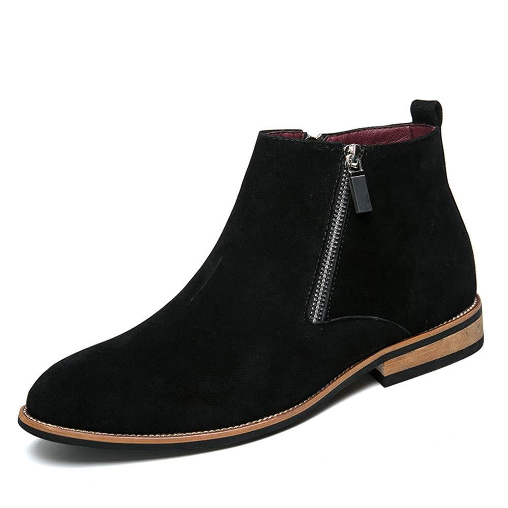 Hilotu Clearance Men's Fashion Ankle Boots Flat Heel Side Zipper Decoration Suede Vamp Solid Color Shoes (Color : Black, Size : 7.5 D(M) US)
