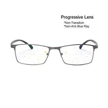 b86eb599a6 Progressive Transition Photochromic Anti Blue Ray Computer Reading Glasses  Half-Rim Metal Frame UV400 No Line Gradual Sunglasses