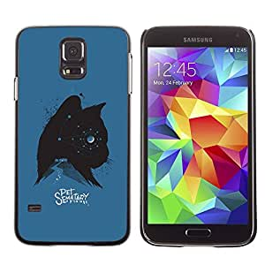 Slim Design Hard PC/Aluminum Shell Case Cover for Samsung Galaxy S5 SM-G900 Cat Kitten Pet Stars Spooky Blue Black / JUSTGO PHONE PROTECTOR