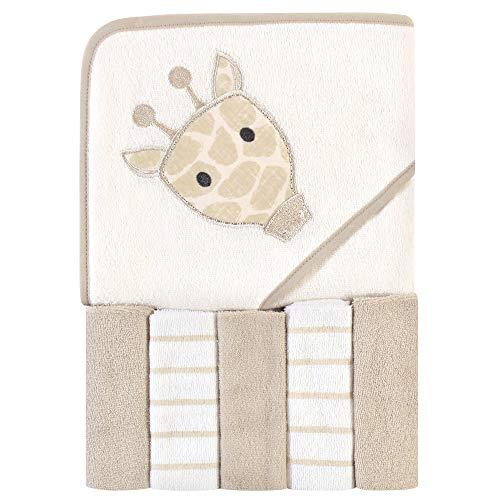 Hudson Baby Unisex Baby Hooded Towel & Five Washcloths, Modern Giraffe, One Size