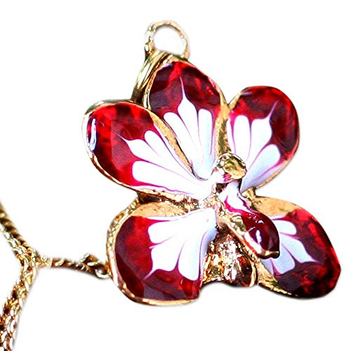 NOVICA Yellow Gold Plated Brass Handmade Natural Orchid Pendant Necklace, 18