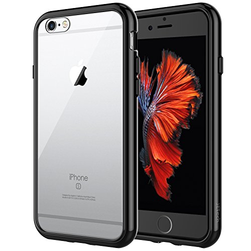 JETech Case for Apple iPhone 6 and iPhone 6s, Shock-Absorption Bumper Cover, Anti-Scratch Clear Back (Black) (Black Iphone 6 Case)