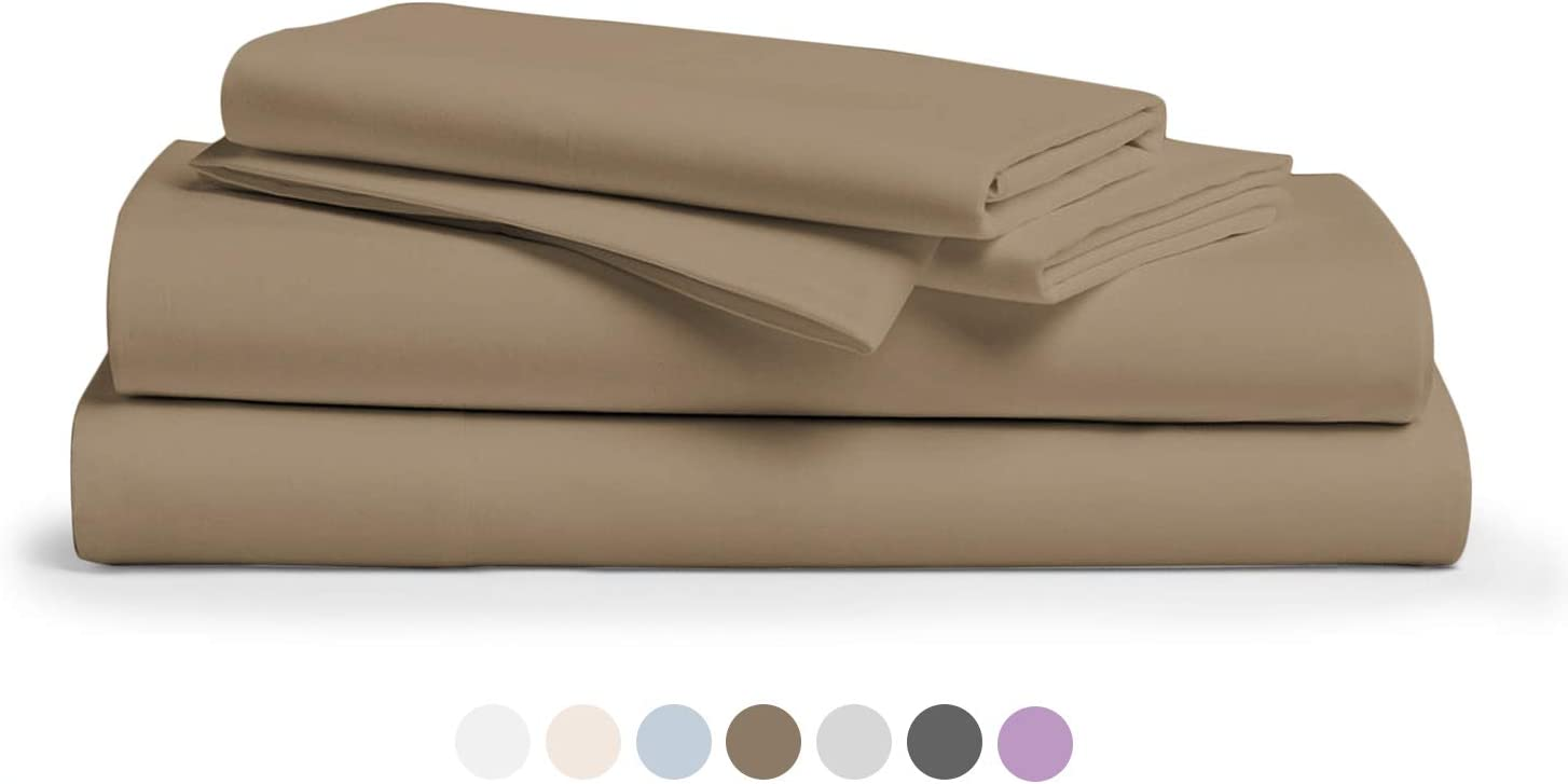 """800 Thread Count 100% Pure Egyptian Cotton – Sateen Weave Premium Bed Sheets, 4- Piece Taupe Queen- Size Luxury Sheet Set, Fits mattresses Upto 18"""" deep Pocket"""