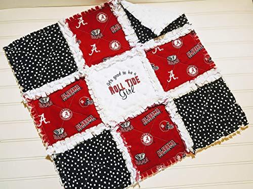 (Alabama Roll Tide Mini Rag Quilt or Crib Rag Quilt, Boy or Girl, Baby or Fan)