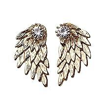 MengPa Gothic Angel Wings Stud and Ear Jacket Cuff Earrings for Women