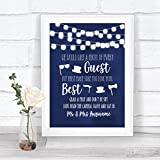 Navy Blue Watercolour Lights Photo Prop Guestbook Personalized Wedding Sign