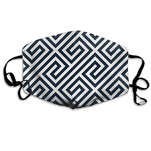 Whages Navy Greek Keys Geometric Pattern Washable Reusable Safety Breathable Mask, 4.3