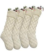 Vanteriam Pack 4 Christmas Stockings, 18'' Unique Ivory White Knit Christmas Stockings for Xmas Decorations, Set of 4