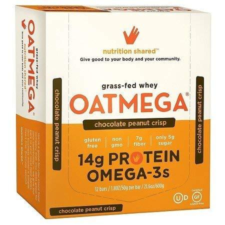 OATMEGA Grass-Fed Whey Protein bar Chocolate Peanut 1.8 oz (Pack of 24)