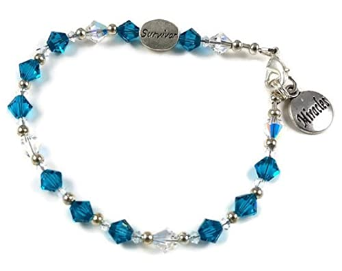 Amazon Com Bracelet Ovarian Cancer Teal Crystal With 2 Sided Survivor Awareness Ribbon Bead And Miracle Charm Handmade