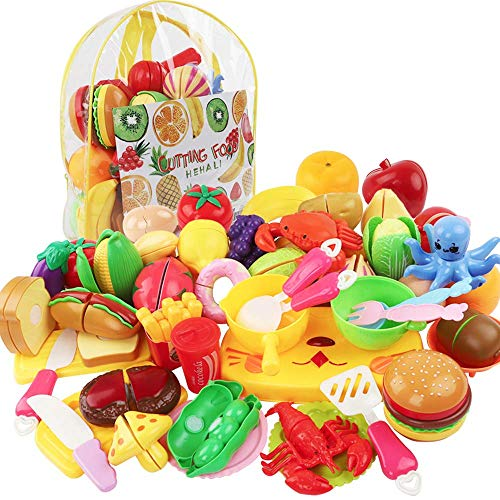 HEHALI 48pcs Cutting Food Toys Play Food Pretend Cutting Fruits and Vegetables Food Playset for Children Girls Boys