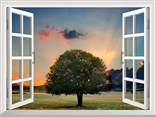Removable Wall Sticker Wall Mural Tree in Sunset Creative Window View Wall Decor
