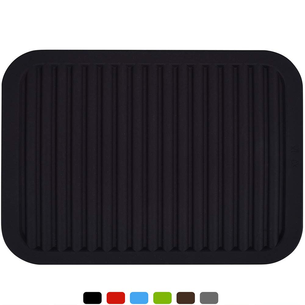 """dealcase 9""""X12"""" Environmental Silicone Mats,Premium Quality Insulated Flexible Durable Non Slip Coasters Hot Pads Hot Dishes,Pots Pans - Waterproof Trivet mat,Tableware Pad,Hygienic Safety,Black"""