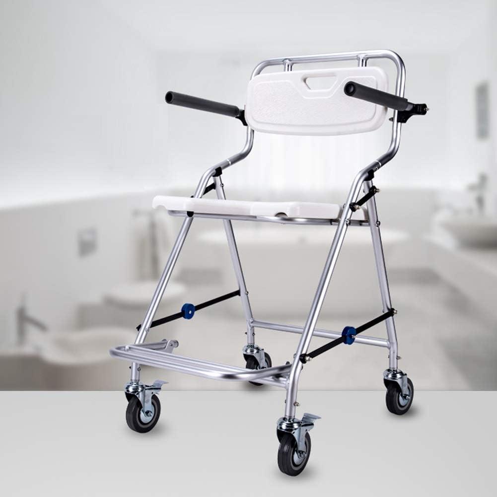 Silla de aluminio Cuarto de baño con ruedas, Ducha Silla plegable Walker Andador con apoyabrazos for la mujer embarazada adultos mayores discapacitados Niños, antideslizante taburete de ducha, 60x55x9