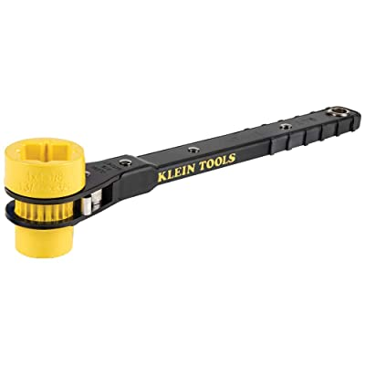 Klein Tools KT151T Lineman's Ratcheting Wrench with Bolt-Through Design, 3/4-Inch, 13/16-Inch, 1-Inch x 1-1/8-Inch Combination Square Socket - Socket Wrenches - .com