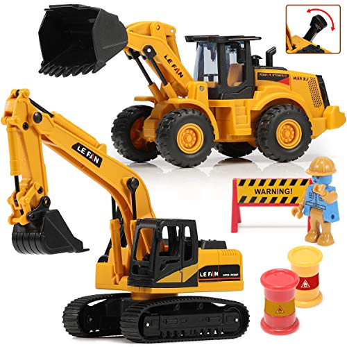 Toys Excavator Bulldozer Truck for Kids, Construction Tractor Toys, Engineer Caterpillar Construction Vehicle Sets of 2, Die cast Pushdozer Machine, Movable Claw Loader Digger Trucks Toys for Boys