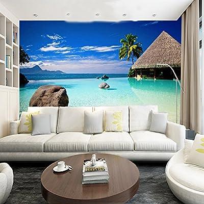 XLi-You 3D Landscape Wallpaper Living Room Sofa Bedroom Tv Wall Maldives Beach Sea Wall Painting