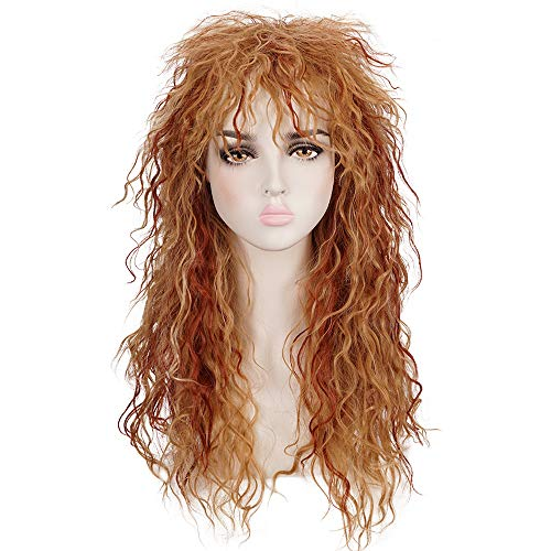 Morvally Womens 80s Style Long Curly Blonde Reddish Brown Hightlight Heat Resistant Hair Wig for Halloween, Cosplay
