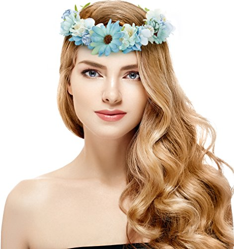[Blue Flower Crown – Perfect for Wedding Festivals, Casual wears & Photography (Blue)] (Romantic Time Period Costumes)